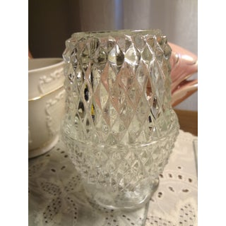 Mid Century Hobnail Cut Glass Fairy Lite Candle Holder Preview