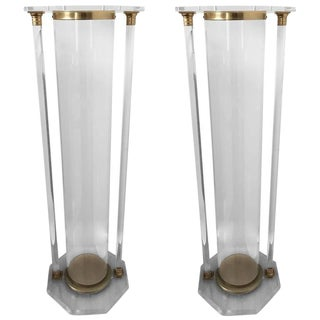 Mid-Century Modern Brass and Lucite Pedestals - a Pair For Sale