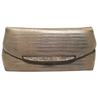Judith Leiber Silver Lizard Crystal Front Evening Bag Clutch For Sale