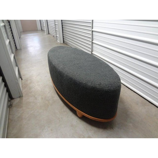 Wood Large Mid-Century Oval Bench Upholstered in Gray Shearling For Sale - Image 7 of 13