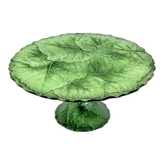 Vintage Cake Stand Plate Italian Green Porcelain Ceramic Grape Leaves Texture - Signed Italy - Limited Edition For Sale