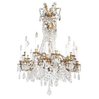 Crystal & Bronze 18 Light Chandelier-Ritz Carlton Palm Beach