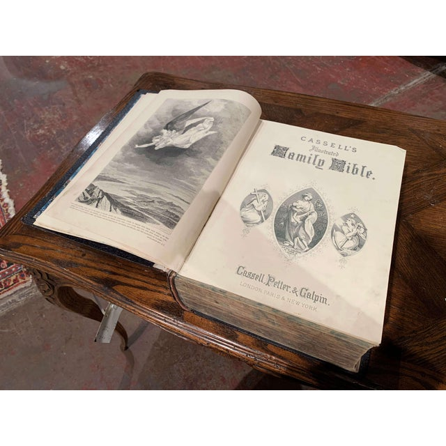 19th Century English Black Leather-Bound and Gilt Tooling Holy Family Bible For Sale In Dallas - Image 6 of 10