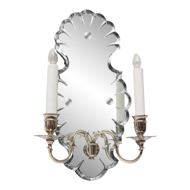 Etched Mirrored Two Arm Sconce For Sale