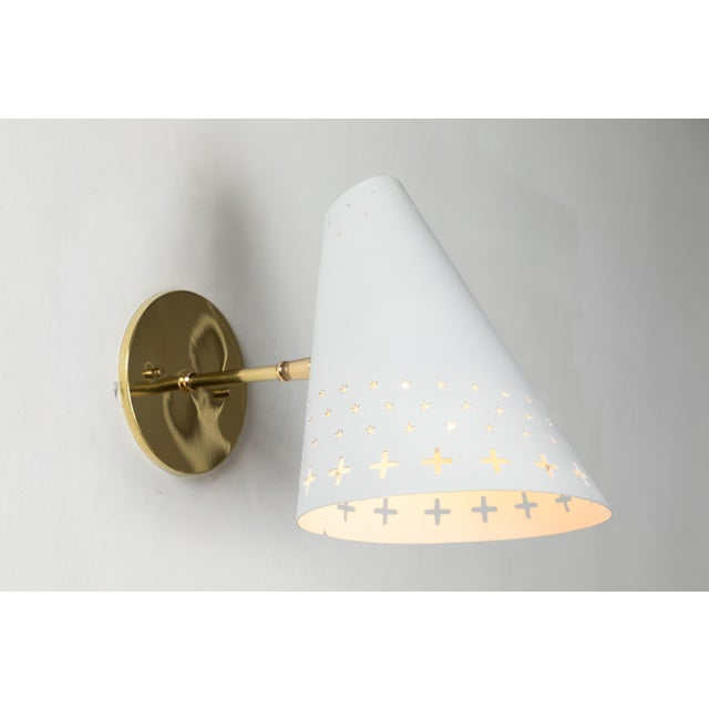 1950s Danish Perforated Sconces Attributed to Bent Karlby - a Pair For Sale - Image 10 of 13