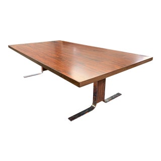 Mid Century 1960's Refinished Rosewood and Chrome Coffee Table, Amazing Grain! For Sale