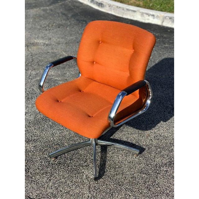 Vintage Steelcase Orange Tweed Office Swivel Chair For Sale - Image 12 of 12