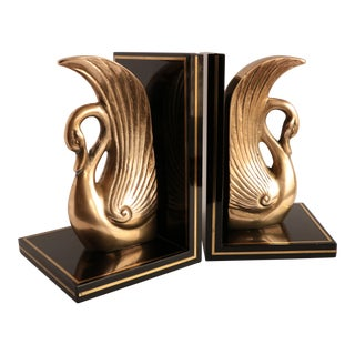Black Lacquer and Brass Swan Bookends - a Pair For Sale