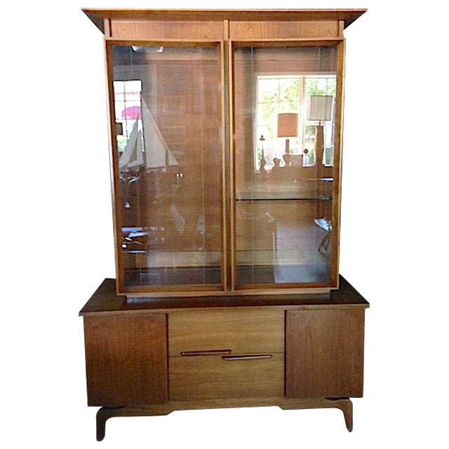Mid-Century Etched Doors Teak Hutch Cabinet - Image 1 of 10