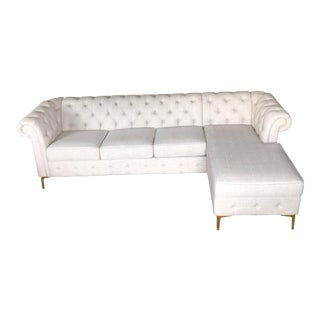 White Linen Sectional Sofa For Sale