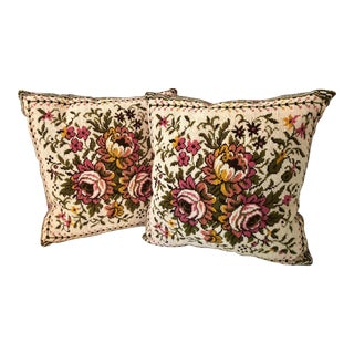 Vintage Floral Tapestry Pillows- a Pair For Sale