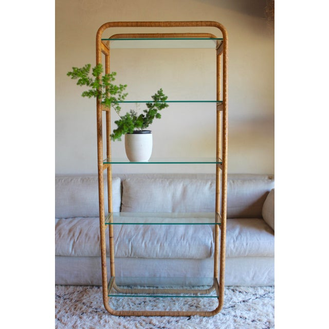 Contemporary 1970s Vintage Milo Baughman Style Italian Rattan Wrapped Cane Bookcase Etagere Wall Unit For Sale - Image 3 of 13