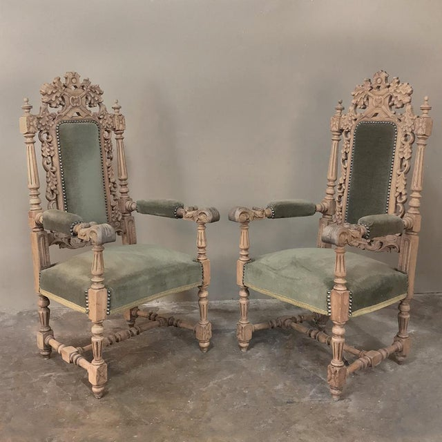 Pair 19th Century Black Forest Stripped Oak Armchairs For Sale - Image 11 of 11
