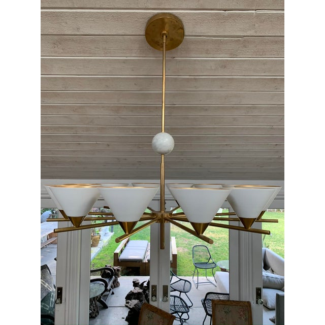 Contemporary Brass Chandelier - Cleo For Sale - Image 4 of 7
