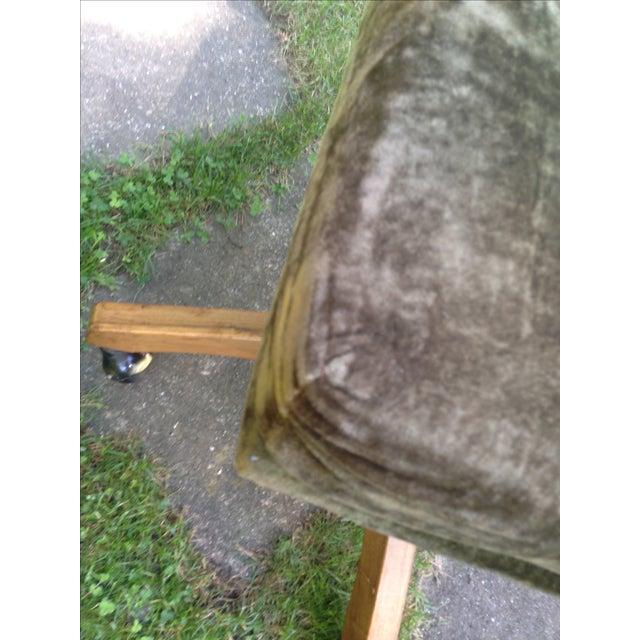 Mid-Century Green Velvet Swivel Chair - Image 5 of 10