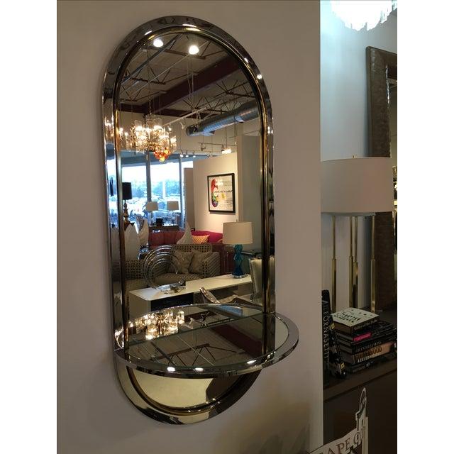 Mid Century Modern Design Institute America Chrome & Brass Mirror with Mirror Console - Image 3 of 11