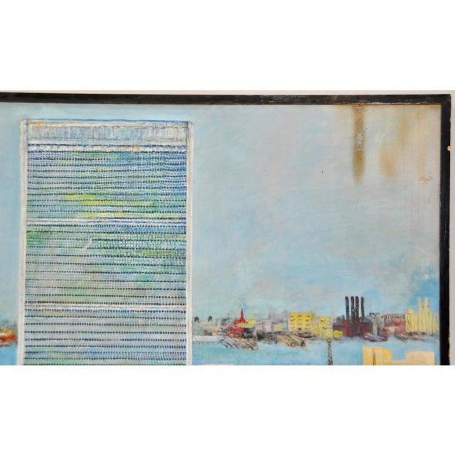 """Large Scale New York City """"United Nations"""" Folk Art Painting by Helen Mauldin C.1958 For Sale - Image 4 of 13"""