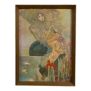 """1970s """"Lady by Water"""" Expressionist Style Figurative Painting, Framed For Sale"""