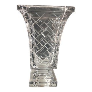 1960s Mid Century Square Crystal Vase For Sale