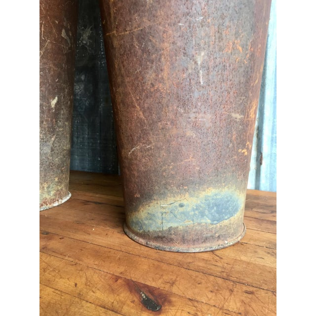 Tall Vintage Metal Urns - A Pair For Sale - Image 10 of 11