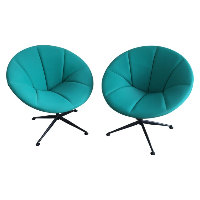 Turquoise Saucer Swivel Chairs - A Pair - Image 1 of 9