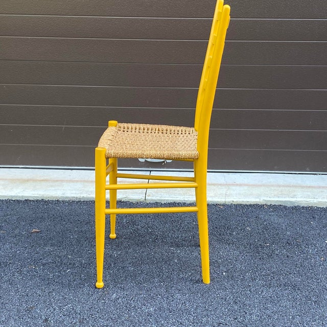 Mid 20th Century Woven Rope Gio Ponti Style Side Chair For Sale - Image 5 of 12