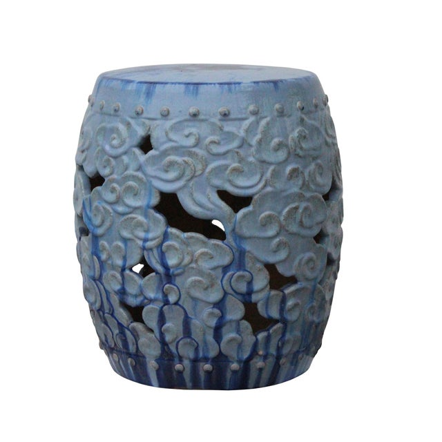 Asian Ceramic Clay Light Blue Glaze Round Scroll Pattern Garden Stool For Sale - Image 3 of 8