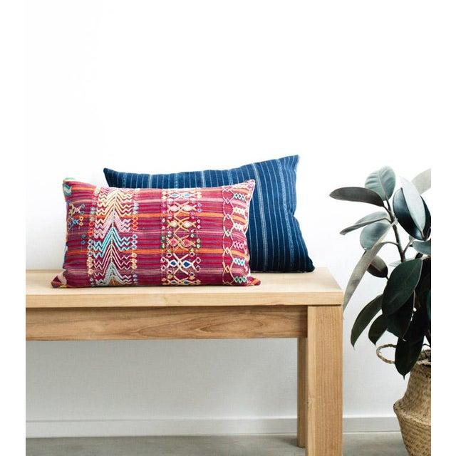 Vintage Guatemalan Red & Pink Striped Pillow - Image 5 of 6