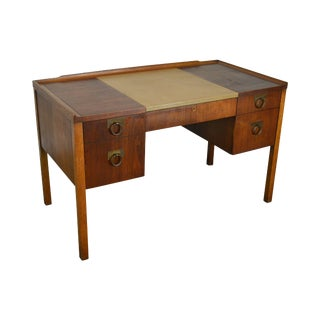 Edward Wormley for Drexel Walnut Leather Top Desk For Sale