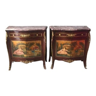 Commodes with French Handmade Painting & Marble Top - A Pair