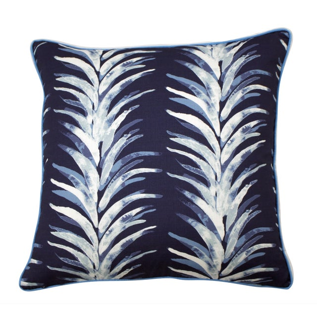 Traditional Lacefield Designs - Blue Palm Pillow With Piping and Flange For Sale - Image 3 of 4