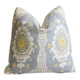 "Lewis & Wood Linen Ikat Bukhara Feather/Down Pillow 21"" Square For Sale"