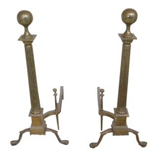 Chippendale Claw Foot Antique Brass Fireplace Andirons- a Pair