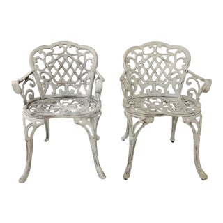 Pair of Early Cast Iron Garden Chairs For Sale