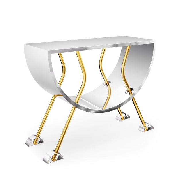 Art Deco Double D Console in Brass and Stainless Steel by Artist Troy Smith - Limited Edition For Sale - Image 3 of 4