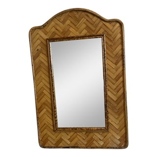 Vintage Small Bamboo and Rattan Woven Wall Mirror