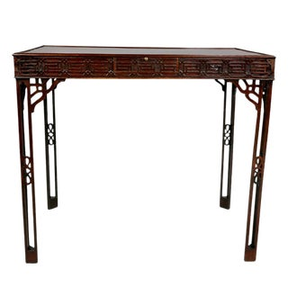 George III Mahogany Fret Carved Silver Table For Sale