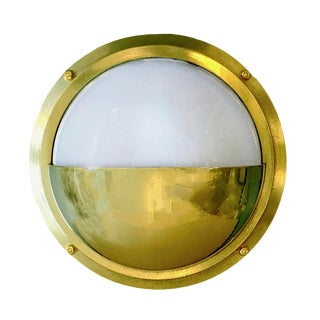 Half Moon Solid Brass Nautical Bulkhead Sconce For Sale