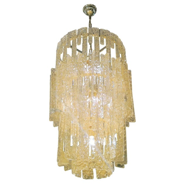 Mid century modern Mazzega gold hooks Murano interlocking glass elements chandelier - Image 6 of 7