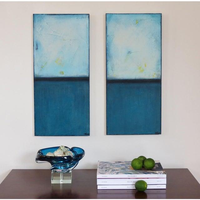 Blue Velvet Sunrise, I & II. Mixed Media Oil on Panel - Pair - Image 3 of 11