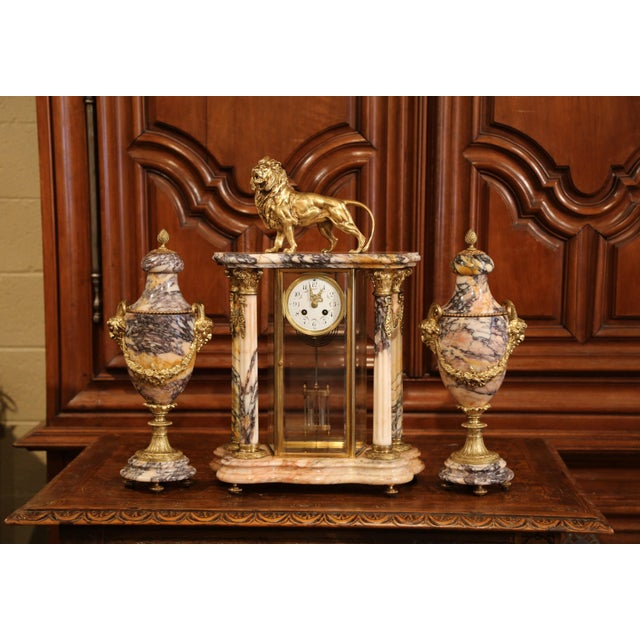 19th Century French Marble and Bronze Mantel Clock With Matching Cassolettes For Sale - Image 4 of 13