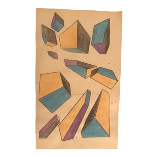 1950s Vintage Mid-Century Modern Geometric Abstract Painting For Sale