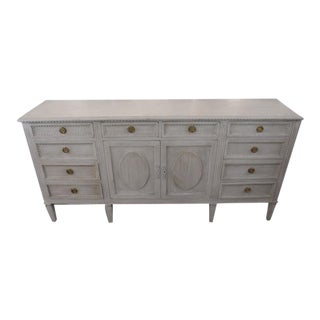 20th Century Gustavian Style Distressed Painted Sideboard For Sale