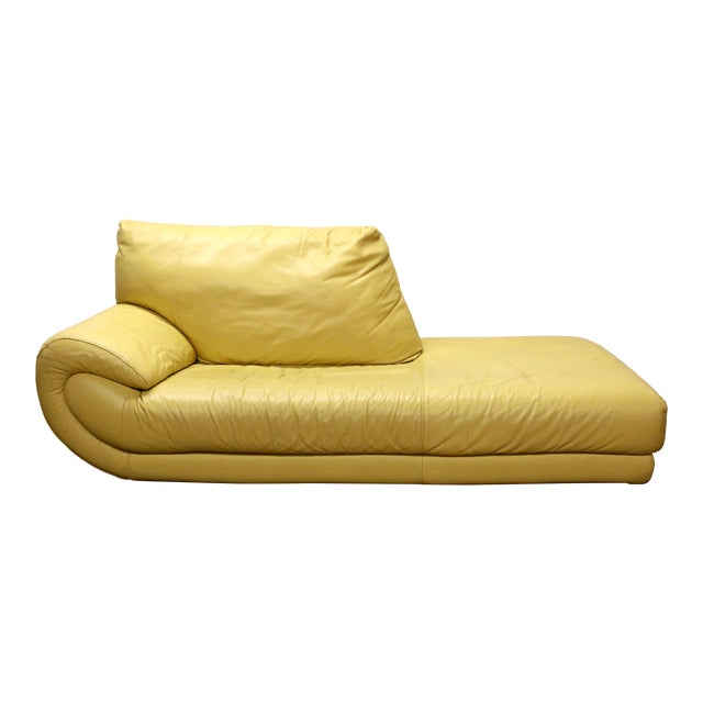 Vintage Mid-Century Modern Nicoletti Italian Leather Canary Yellow Low Daybed For Sale