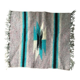 Navajo Style Vintage Weaving Woven Small Wool Mat - 10″ × 11″ For Sale