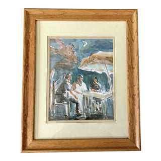 """""""At the Cafe"""" Framed Turquoise Watercolor Painting - Signed Original"""