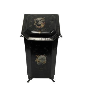 Antique Floral Hand Painted Coal Scuttle/ Victorian Fireplace Bin For Sale