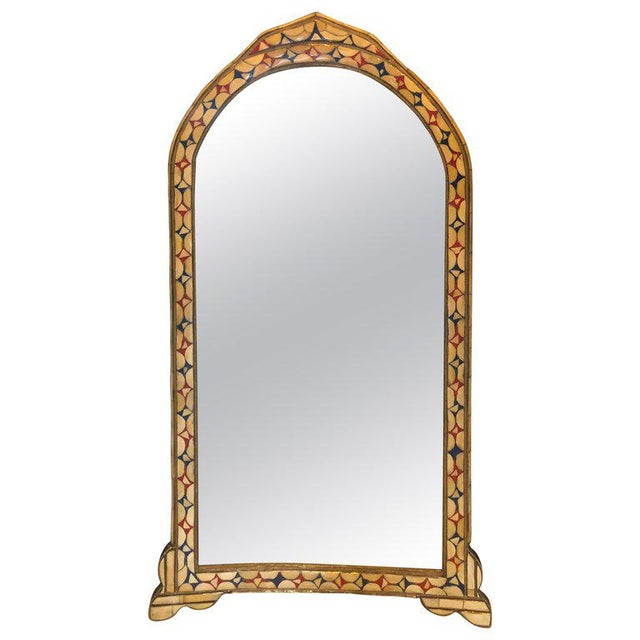 Moroccan White/Red and Blue Colored Bone Over Brass Frame Floor/Wall Mirror For Sale In New York - Image 6 of 6