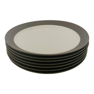 Mid-Century Jens H. Quistgaard for Dansk Matte Flamestone Pottery Dinner Plates - Set of 7 For Sale