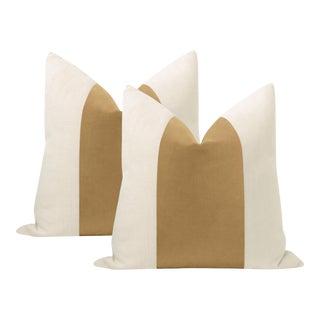 """22"""" Camel Italian Velvet Panel & Linen Pillows - a Pair For Sale"""